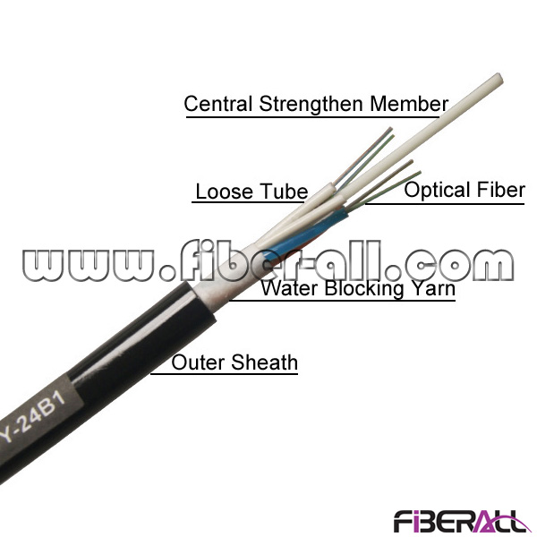 FA-OC-GYFTY24, 24 Cores Nonmetallic Stranded Outdoor GYFTY Optical Fiber Cable with Kevlar