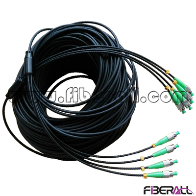 FA-APC-FAFAS04, Indoor Armored Fiber Optical Multi-fiber Patch Cable, FC/APC-FC/APC, SM, 4 Fibers Fan-out