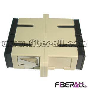 FA-AD-SP2MP, Duplex SC Fiber Optic Adapter with Flange, Multimode, Plastic, Beige