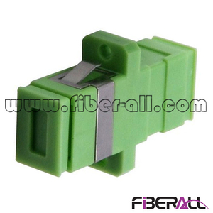 FA-AD-SA1SP, Simplex SC/APC Fiber Optic Adapter with Flange, SM, Plastic, Green