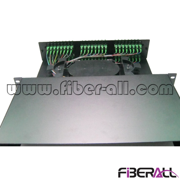 FA-FDR2MD48B 2U Height Rack Mounted Fiber Optic Patch Panel Sliding Type with 48pcs E2000 SC LC Adapter