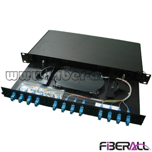 FA-FDR1MD12B Rack Mounted Slide Drawer Type Fiber Optic Patch Panel with 12pcs SC Simplex or LC Duplex Fiber Port , Metal, Black